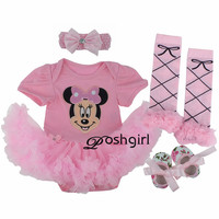 Baby Girl Clothes Newborn Baby Romper Minnie Mouse Tutu Dress Headband Shoes Leggings 4pcs Set Outfits