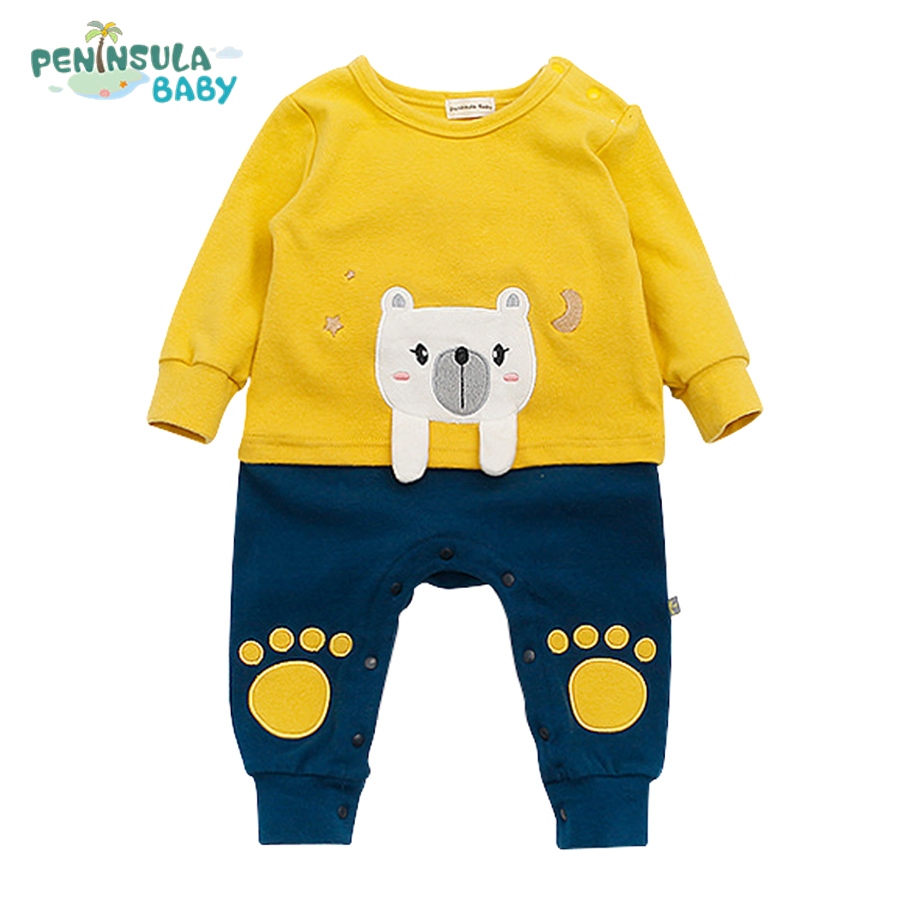 Cute Bear Baby Rompers Newborn Cotton Outwear Clothes Boys Girls Infant Long Sleeve Jumpsuit Spring Autumn 3 Colors rockabilly tattoo long sleeve baby biker costume black one piece rompers shirt infant cotton jumpsuit funny baby boys clothes