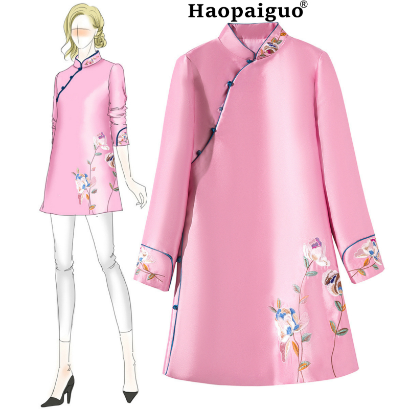 2018 New Pink Chinese Women Traditional Dress Silk Satin Cheongsam Mini Sexy Qipao Embroidery Flower Wedding