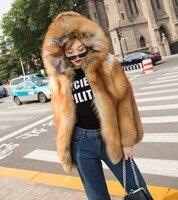 Высокая streetwear2019 модные плюшевые Wholepelt Для женщин s с натуральным лисьим мехом пальто с капюшоном теплые red fox Меховые пальто