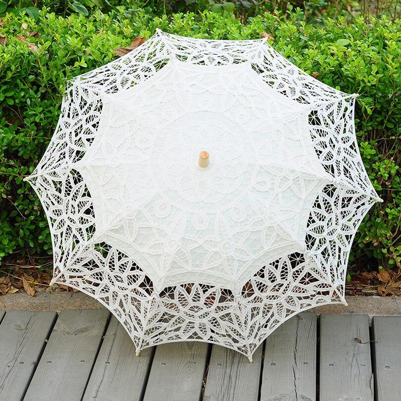 QUNYINGXIU Zanaat Dantel Bej Şemsiye El Yapımı Pamuk Dans - Ev Eşyaları - Fotoğraf 2