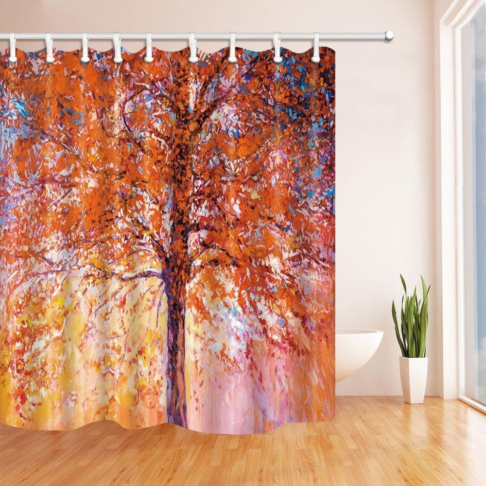Life tree Bathroom Waterproof Fabric Shower Curtain & 12 Hooks 180*180 cm