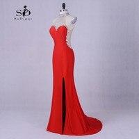 Вечерние платья для женщин Роскошные платье с русалочкой красный Бисер длинные Платья для вечеринок вечернее элегантное вечернее платье с