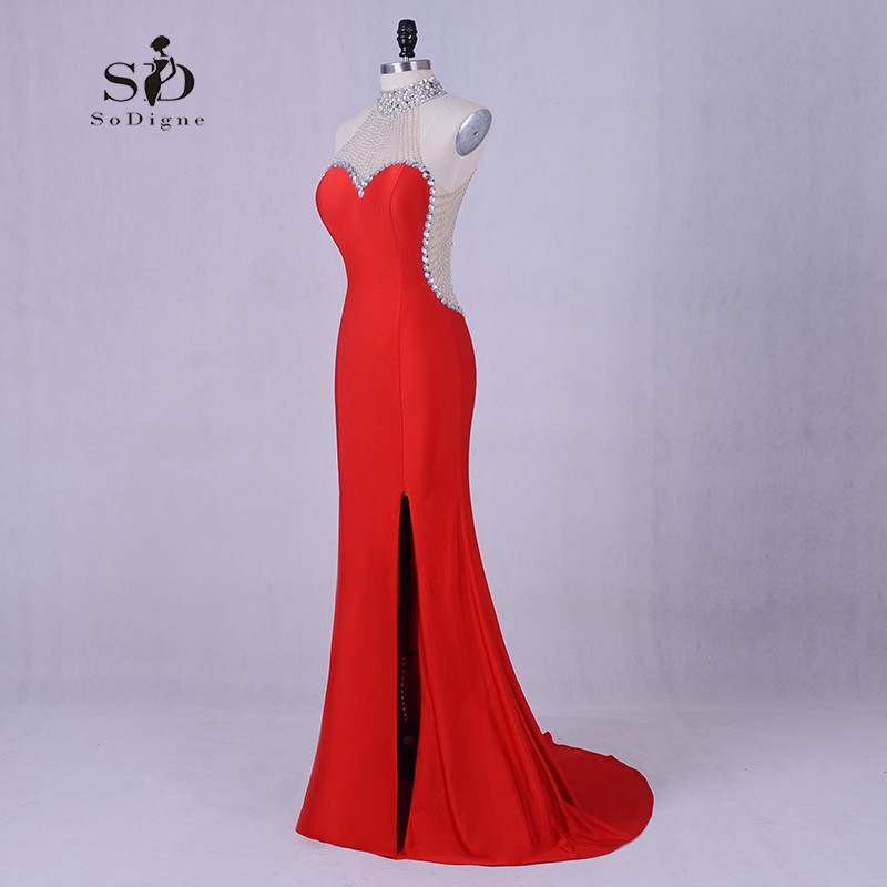 Evening Dresses for women Luxury Mermaid Dress Red Beading Long Party Dresses Formal Elegant Prom Gown Side Slit Evening Party