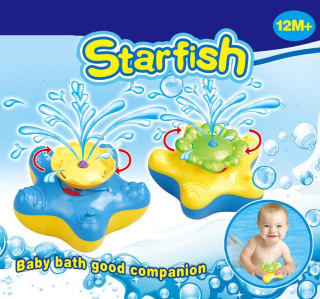 Hot Bonito Starfish Bebê Spray de Água Brinquedo de Banho Verão jogando em o Azul Amarelo com caixa de água para as crianças Brinquedos Clássicos GH0115