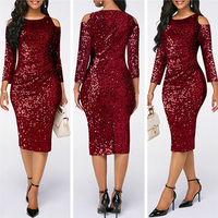 GuyuEra 2019 New African Cloths Sexy Sequined off the shoulder Women Dresses