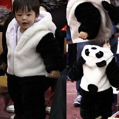 Baby Kid Toddler Newborn Boy Panda Animal Onesie Hooded Zipper Romper Jumpsuit Outfit Costume 0-3Y 4