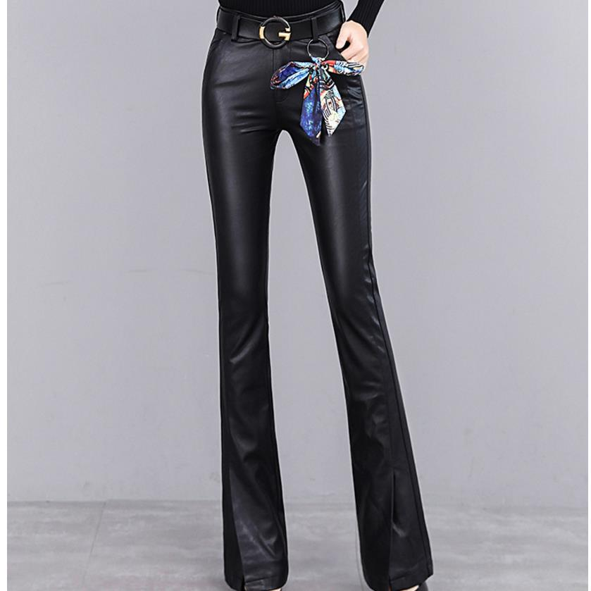 New Pu Split Pants Autumn And Winter Flare Pants Trousers High Waist