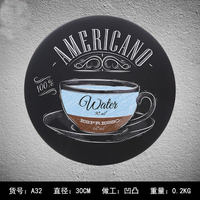 Bar Decoration Circle Coffee Metal Plates Vintage Car Metal tin sign Bar Wall arts Home Metal painting signs Bar Pub 30cm