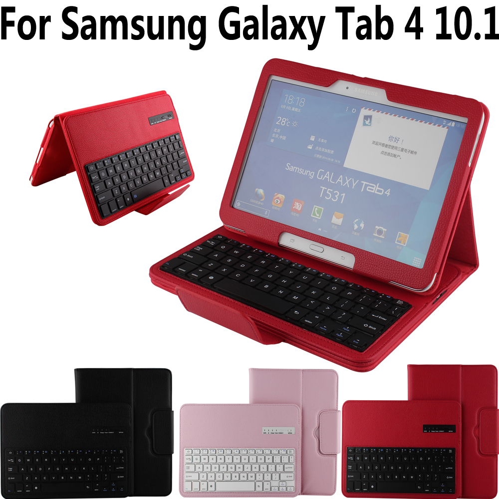 Remove Detach Wireless Bluetooth Keyboard Case Cover for Samsung Galaxy Tab4 Tab 4 10.1 T530 T531 T533 T535 Funda Tablet Shell bluetooth keyboard for samsung galaxy note gt n8000 n8010 10 1 tablet pc wireless keyboard for tab a 9 7 sm t550 t555 p550 case