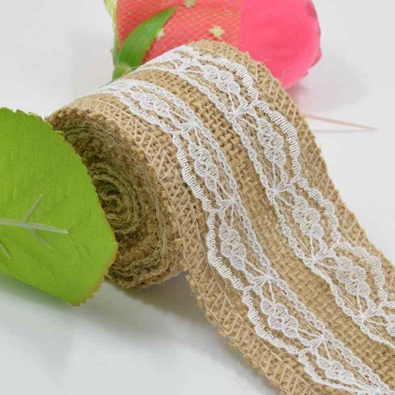 Cinta de boda r/ústica de 5 m cinta de encaje de arpillera Decoraci/ón de la cinta de la torta Correa de cintur/ón de yute Decoraci/ón de tela de boda arpillera de yute natural con cinta de encaje