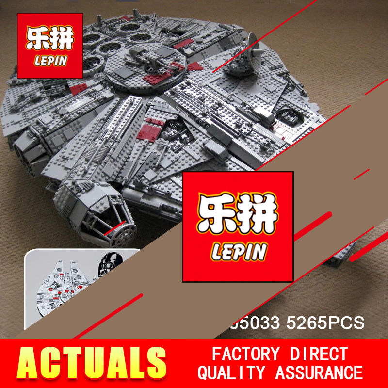 LEPIN 05033 Star 5265Pcs Ultimate Wars Collector's Millennium Model Falcon Building Kit Blocks Bricks Toy Gift Compatible 10179 игровой набор mattel star wars tie fighter vs millennium falcon 2 предмета cgw90