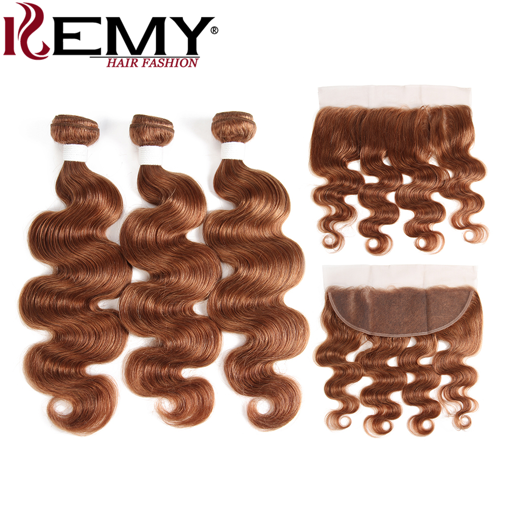 KEMY HAIR Pre-Colored 100% Human Hair Weaves 30# 3Pcs Brazilian Body Wave Human Hair Bundles With Frontal 4*13 Non-Remy