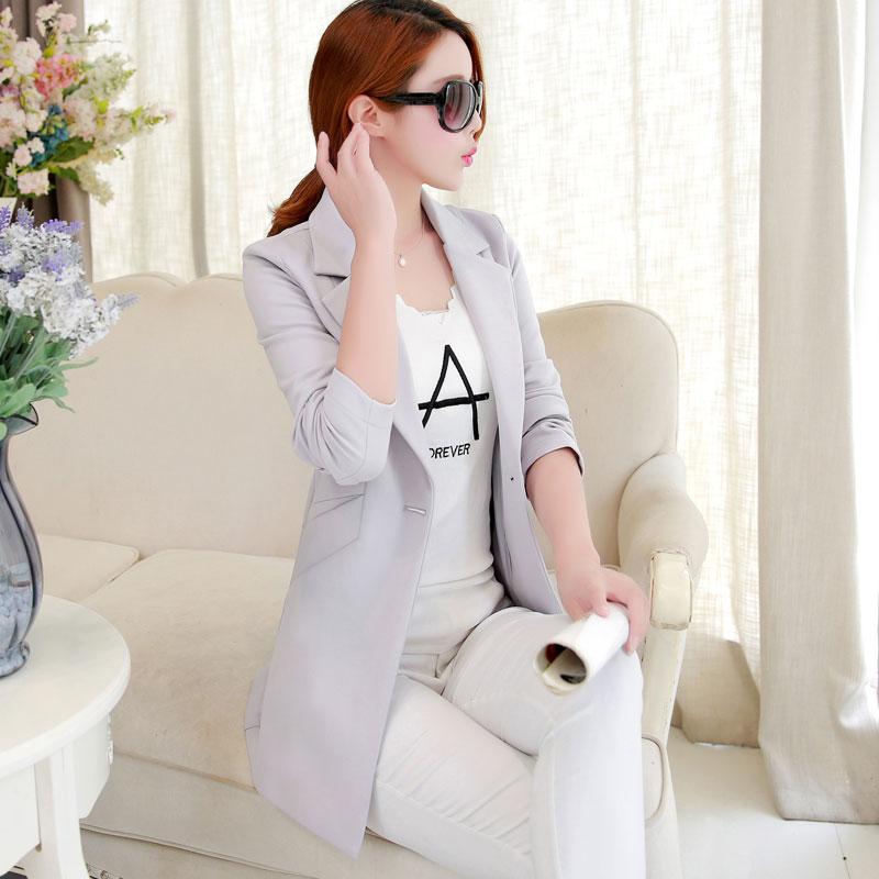 dc49cdcabf5 2018 New Long Blazers Jacket Women Plus Size 3XL Spring Autumn One Button  Long Suit Elegant Women Blazer-in Blazers from Women s Clothing on  Aliexpress.com ...