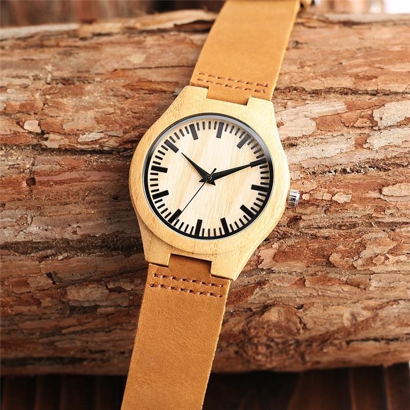YISUYA fa karóra férfiak minimalista csuklós óra divat bambusz fa - Férfi órák - Fénykép 4