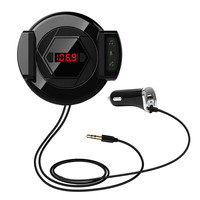 3 in 1 Car Phone Holder Bluetooth FM Transmitter Modulator Hands Free Calling Input Jack and 2.1A USB Port Car Charger