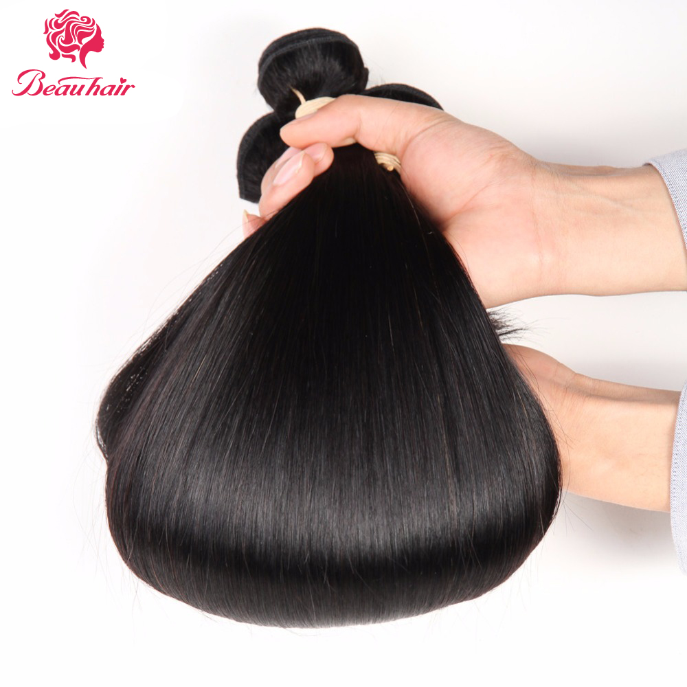 Beau Hair Brazilian Straight Hair 2/3 Bundles With Lace Frontal Human Hair Bundles With Closure 13*4 Non-Remy Hair Extensions