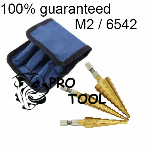 3pcs M2/6542 HSS  Metric 28 Size Titanium Coated Step Drill Bit Cutting Tools Bits Drills Smoother Drill Bit Set  Bulk Packaging free shipping of 1pc hss 6542 made cnc full grinded hss taper shank twist drill bit 11 175mm for steel