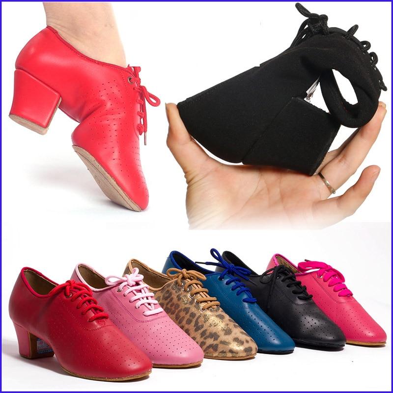 Sneakers Ballroom Dance Shoes Woman Latin Shoes Women Jazz Lace-up Sports Teacher Shoe Tango Heel 4.5cm Male Female BDDANCE T1-B