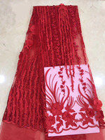 Red 3D Flower Beaded French Lace Fabric Beautiful African Tulle Lace Sewing Nigerian Fabric 2018 High Quality 5 Yards