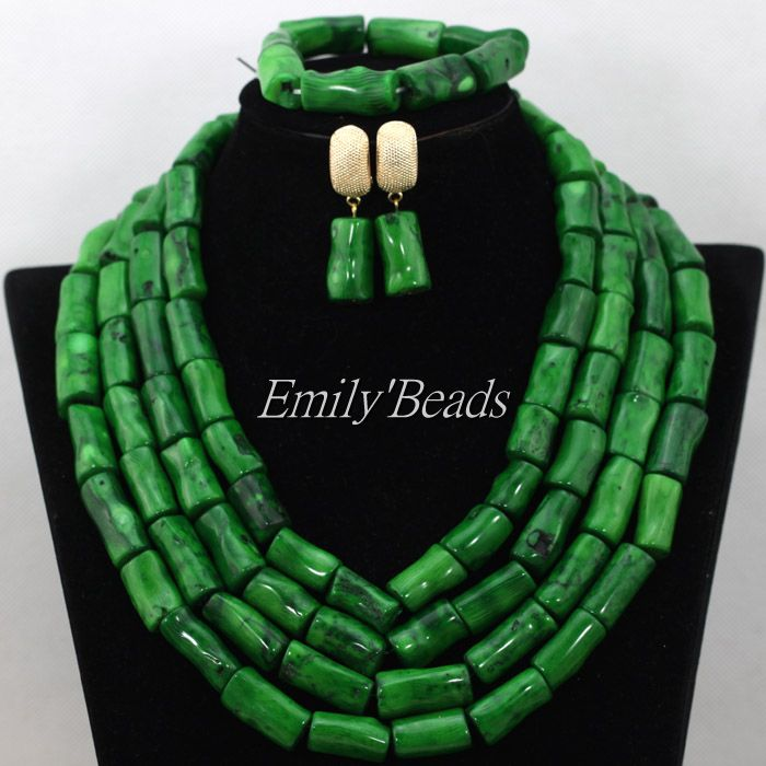 Chunky Nigerian Wedding African Beads Jewelry Set Green African Costume Coral Necklace Earrings Bracelet Set Free Shipping CJ560 costume african red coral beads necklace bracelet earrings jewelry set nigerian wedding jewelry sets free shipping cj240