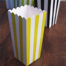 6 sztuk pudełko na popcorn kolorowe paski chevron dot złoty prezent pudełko Party favor Wedding popcorn kid party decoration torby łup