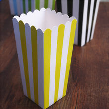6pcs Popcorn box colorful chevron stripes dot Gold Gift Box Party Favour Wedding Pop corn kid party decoration bags loot(China)