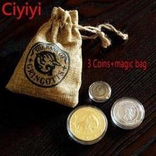 Купить с кэшбэком Harri Potter Gringotts Galleons Sickels Knut Cosplay Coin & Magic Bag Toy Cartoon Harri Potter Magic World Juguetes Kids Gift