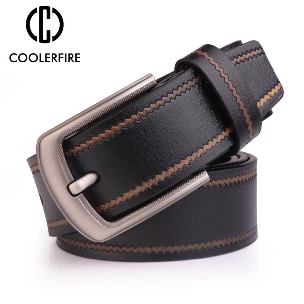 COOLERFIRE Fashion Cow Genuine Leather  New Men Vintage Style Male Belts For Pin Buckle SL005