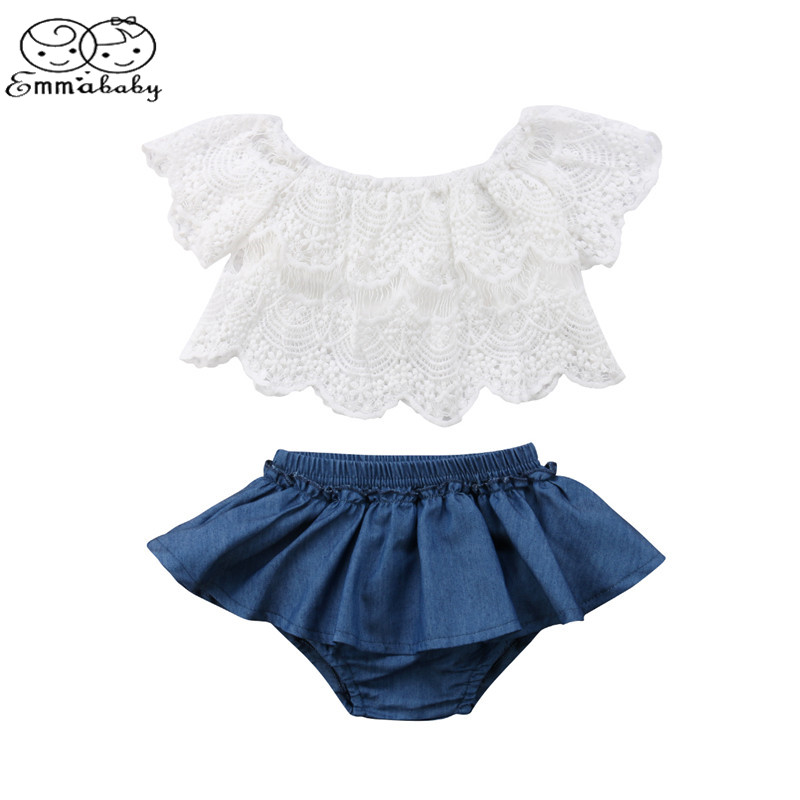 Emmababy Newborn Toddler Baby Girl Off Shoulder Lace Tops White+Denim Shorts Skirted Bloomers 2PCS Outfits Summer Clothes Set white lace details off shoulder playsuits with belt