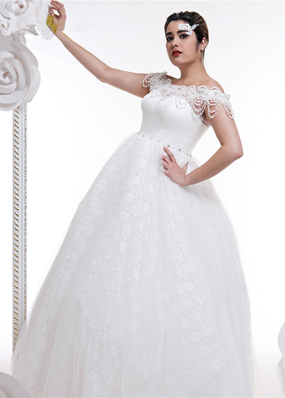 Off shoulder large size wedding dresses tulle lace ball for Wedding dresses for larger figures