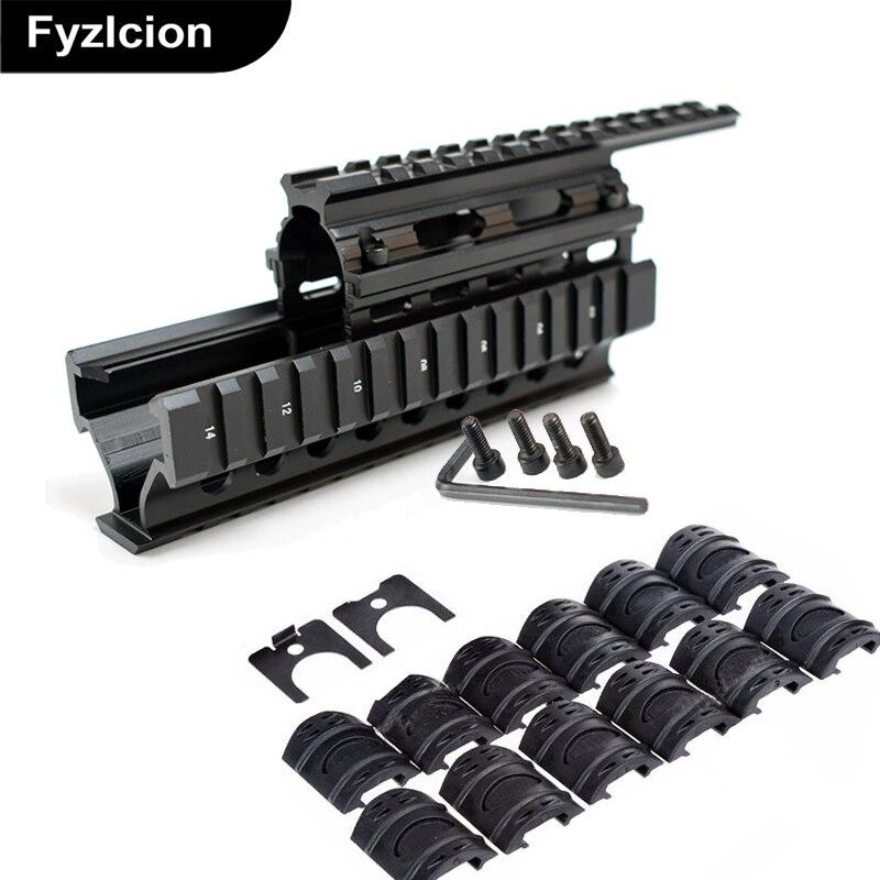 สากลยุทธวิธีQ UadรถไฟภูเขายุทธวิธีQ UadรางHandguardรถไฟกับ12ชิ้นรถไฟครอบคลุมสำหรับAK47 74 AKsล่าสัตว์ยิง