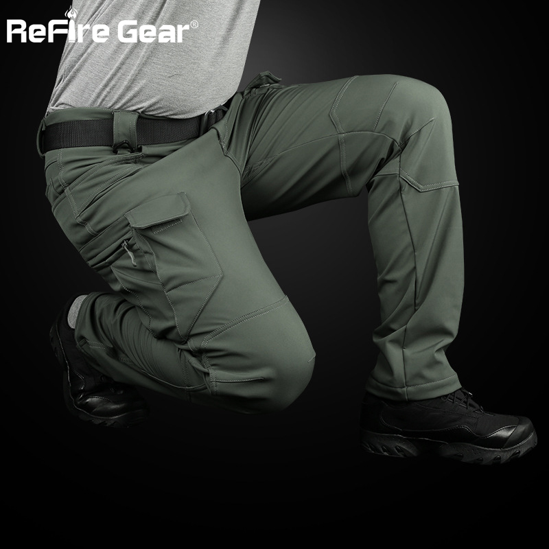 ReFire Gear IX7 Soft Shell Tactical Cargo Pants Men Waterproof SWAT Multi-Pocket Army Military Pants Winter Warm Fleece Trousers