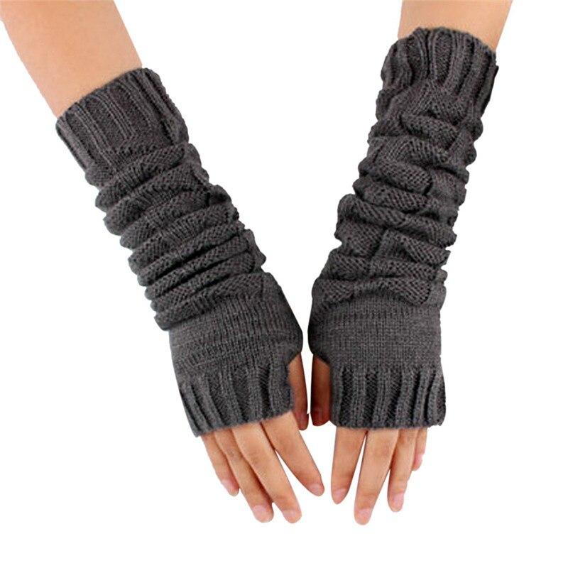 LiebenswüRdig Winter Frauen Handschuhe Häkeln Stricken Mädchen Finger Arm Fäustlinge Warme Hohl Feste Lange Guantes Weibliche Taktische Handschuhe Solide Damen-accessoires