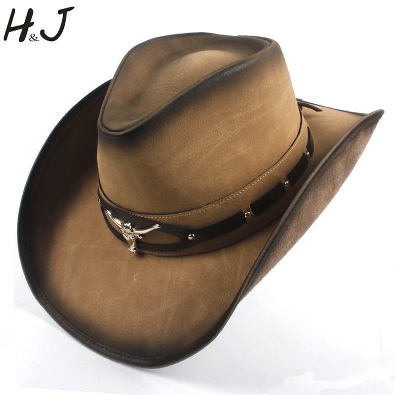100% In Pelle Nera Degli Uomini Di Cappello Da Cowboy Occidentale Per Le Signore Papà Cowboy Sombrero Hombre Caps Padrino Cappelli Formato 58-59 Cm Dropshipping