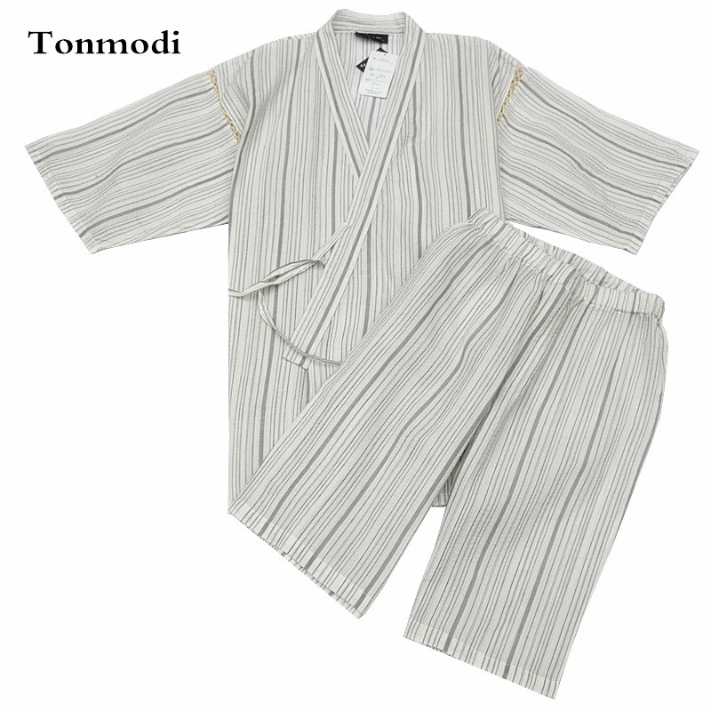 Underwear & Sleepwears Kimono Pajamas For Men 100% Cotton Woven Cloth Kimono Robe Short-sleeve Shorts Pajamas Set Promoting Health And Curing Diseases