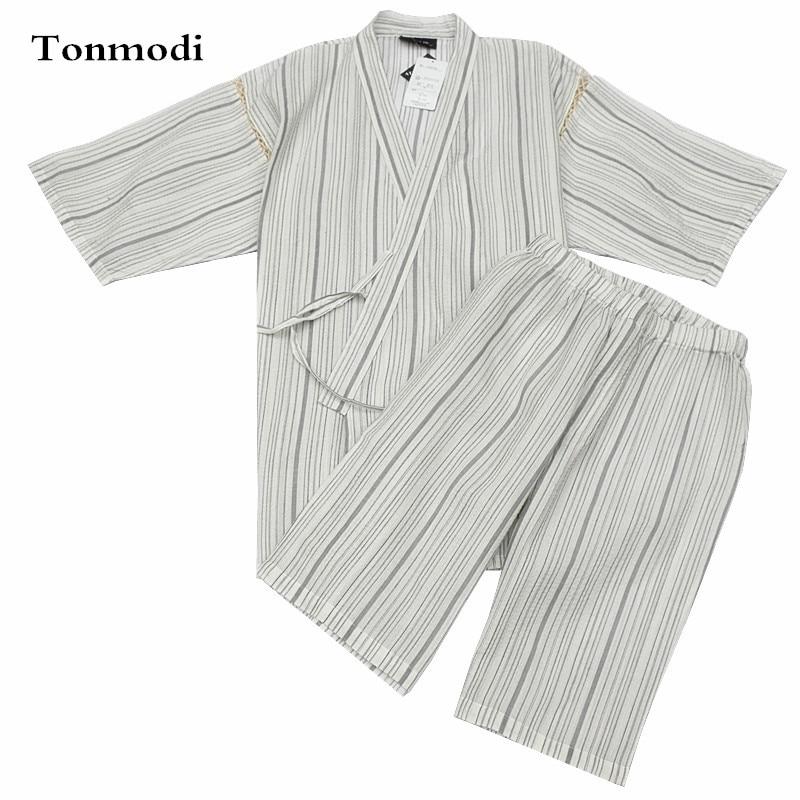 Kimono Pajamas For Men 100% Cotton Woven Cloth Kimono Robe Short-sleeve Shorts Pajamas Set Promoting Health And Curing Diseases Underwear & Sleepwears Men's Pajama Sets