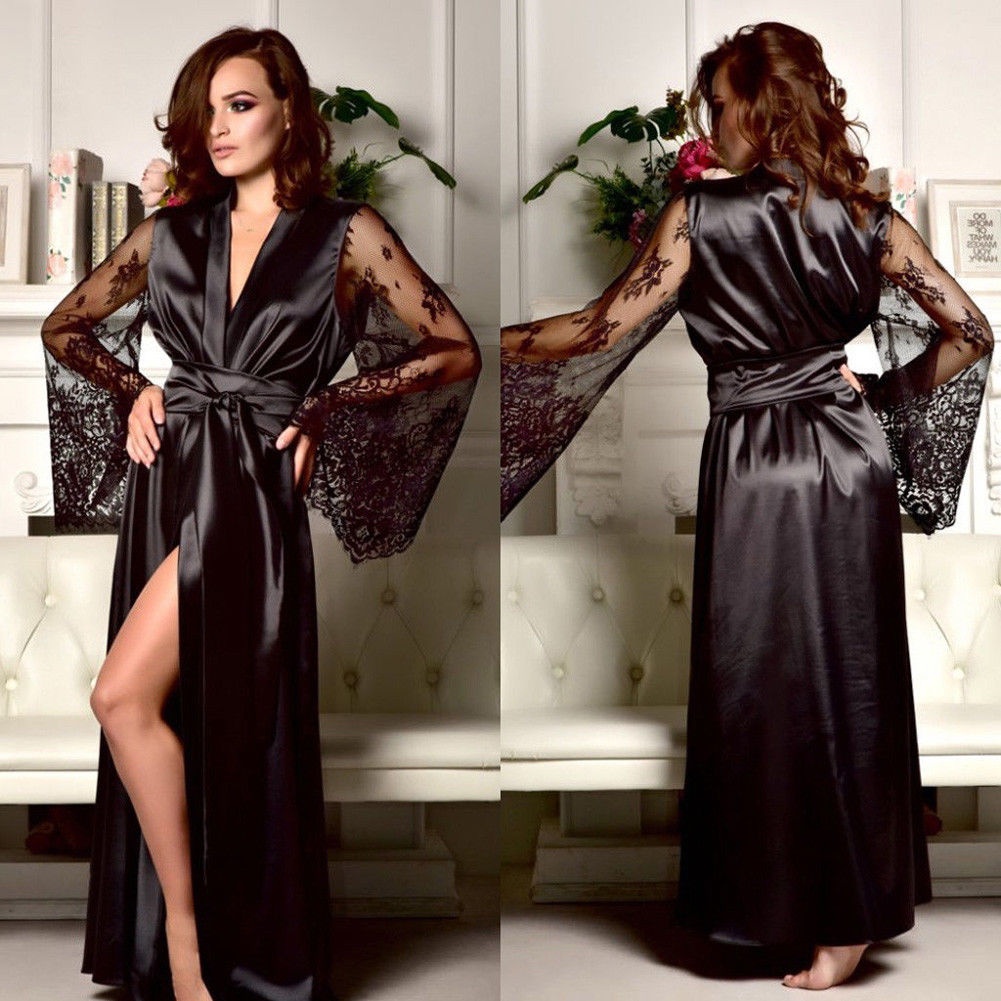 Women Fashion Sexy Lingerie Silk Lace Robe Dress Pajamas Womens Nightdress Nightgown Sleepwear Hot Tempt Sleep Cloth