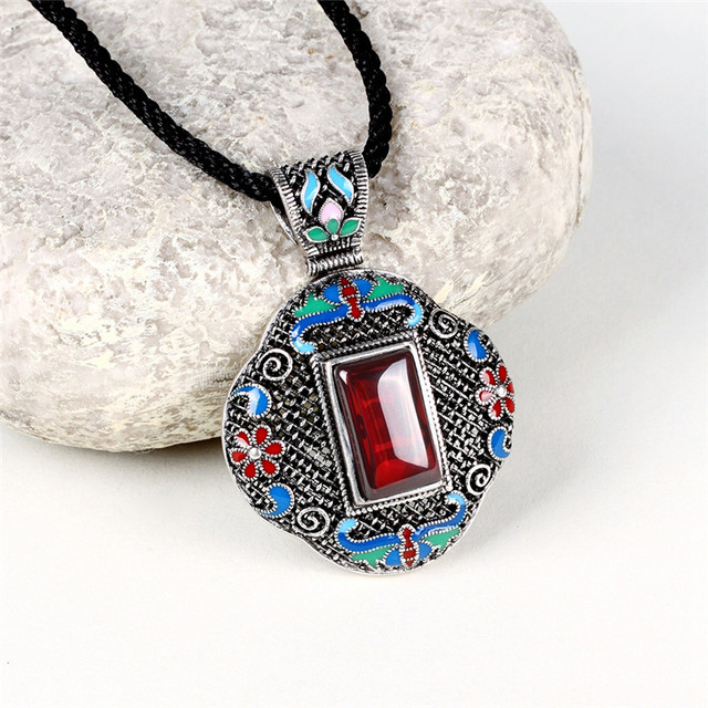 LKO 5A Cloisonne Antique Silver Jewelry Upscale Bohemia Royal Pendant Long Necklace Vintage Ethnic Elegant Accessory For Women