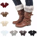 Hot Sale One-Pair Women Lady Warm Faux Fur Crochet Knit Boot Socks Cover Cuffs Leg Warmer Leg Boots Short Socks S3282