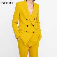 2019 New Long Blazer Women Double Breasted Sleeve Office Coat Female Spring autumn Casual yellow Womens Tops