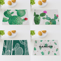Green Cactus Cotton Linen Cloth Potholder Placemat 40X30cm Dining Table Mat Bowl Pad Coasters Table Cloth