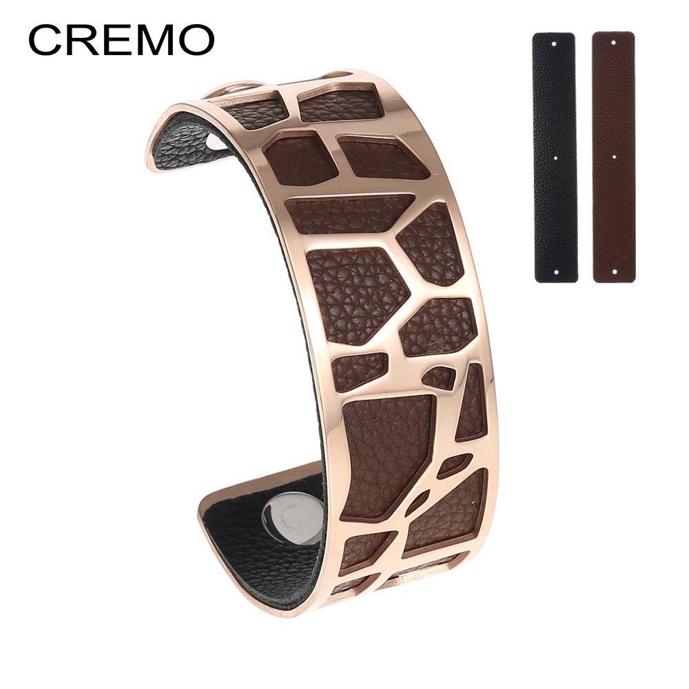 Cremo Zebra Bangle Stainless Steel Bracelet Bijoux Femme Giraffe Cuff 25mm Leather Interchangeable Reversible Bangles Jewelry