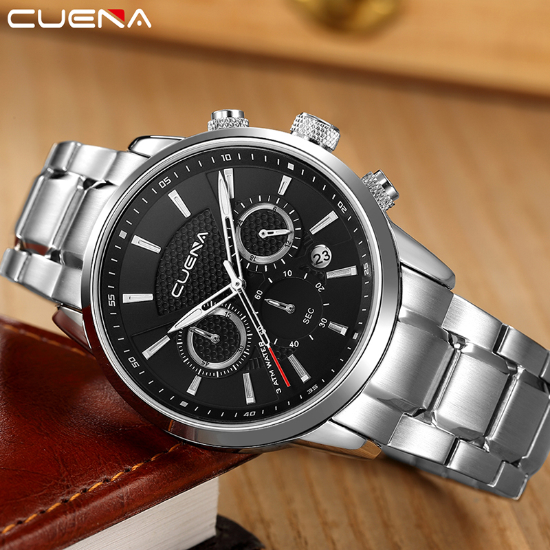 CUENA Men Quartz Watch Fashion Mens Watches Top Brand Luxury Waterproof Stainless Steel Wristwatches Man Clock Relogio Masculino men fashion quartz watch mans full steel sports watches top brand luxury cuena relogio masculino wristwatches 6801g clock