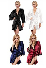 2017 4 Colors Hot New Luxury Women Sexy Nightwear Satin Lingerie Intimate Night Gown Robe Kimono Sleepwear Size S M L XL