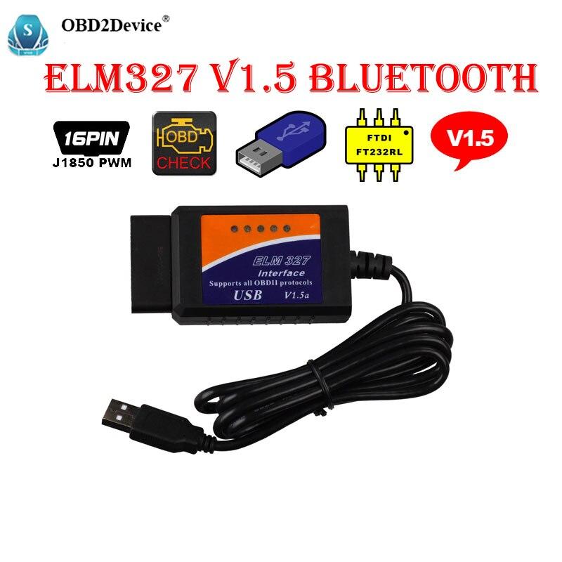 ELM327 V1.5 USB Interface FT232RL Puce Connecteur OBD2 ELM 327 V 1.5 OBD 2 V1.5 Auto Scanner Automotivo Voiture De Diagnostic ELM-327