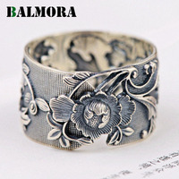 BALMORA 100 Real 999 Pure Silver Flower Resizable Rings For Women Mother Party Gift Retro Fashion