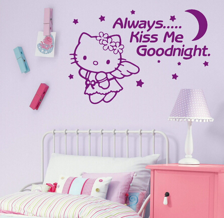 Hello Kitty Wall Stickers For Kids Room Nursery Wall Art Decals Vinyl  Vinilos Paredes Mural Princess Girl Bedroom Wallpaper J081 In Wall Stickers  From Home ...