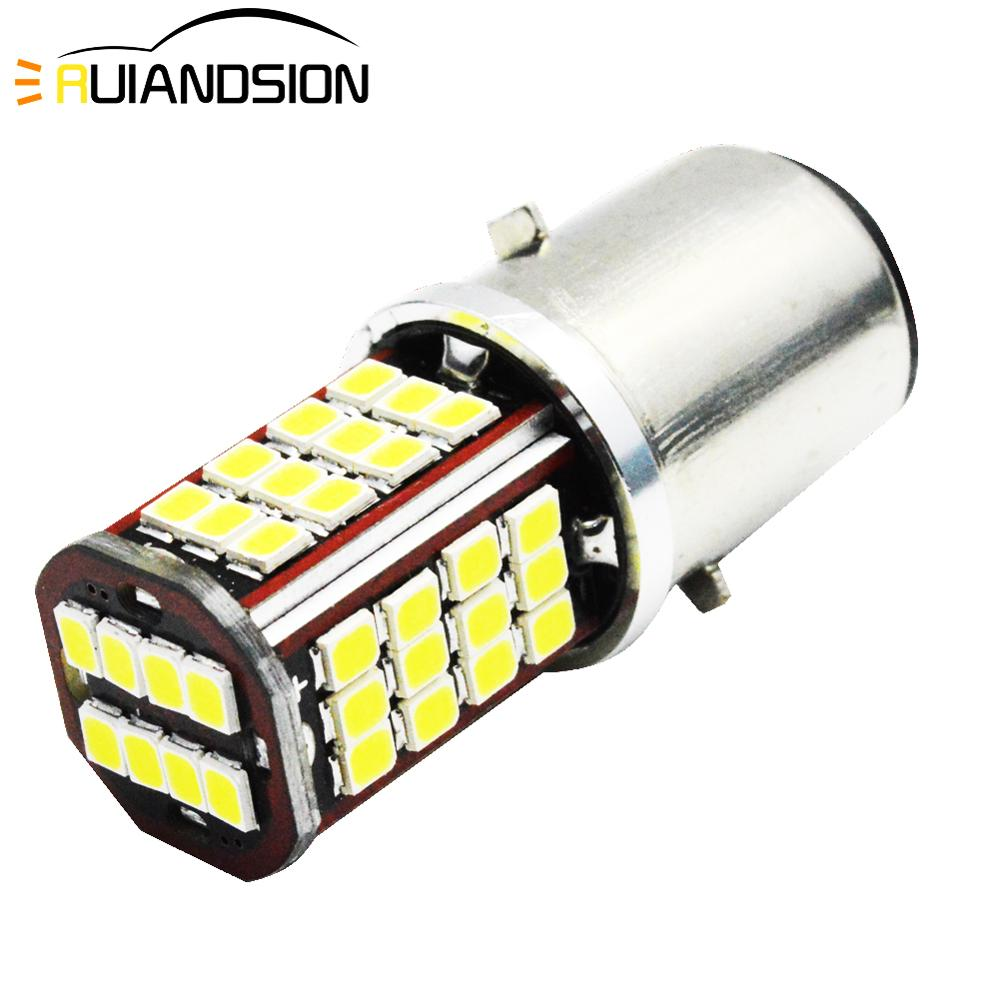 White Motorcycle Motorbike H6 Headlight 6V 12V DC BA20D Bixenon Beam 2835 56smd LED Moped Scooter ATV Lamp Bulb Aluminum Light
