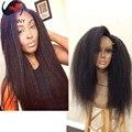Brazilian Virgin Hair Italian Yaki Lace Wigs 100% Unprocessed Human Hair Glueless Italian Yaki Full Lace Wig For Black Women